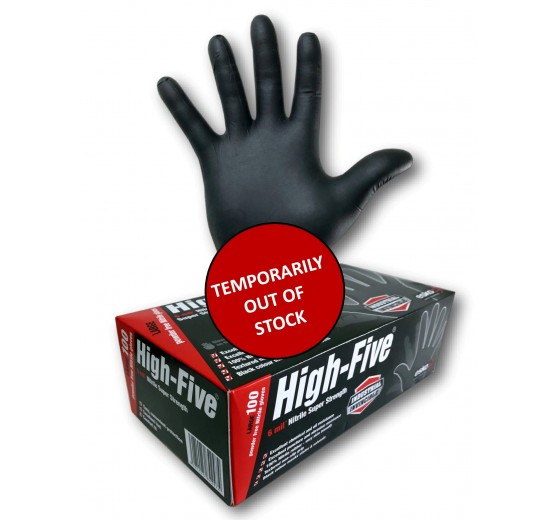 """High-Five """"Black"""" (Nitrile) Disposable Gloves - Small"""